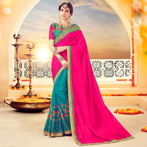 Stunning Rama Blue-Pink Colored Partywear Embroidered Silk Half-Half Saree