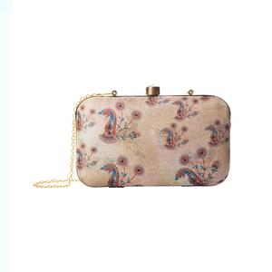Glorious Beige Colored Floral Printed Fancy Clutch
