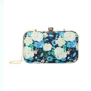Attractive Black-Multi Colored Floral Printed Fancy Clutch