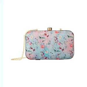 Impressive Aqua Blue-Pink Colored Floral Printed Fancy Clutch