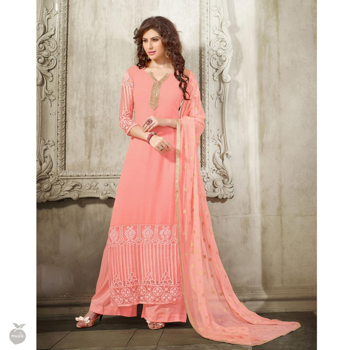Rose Pink Embroidered Work Dress Material