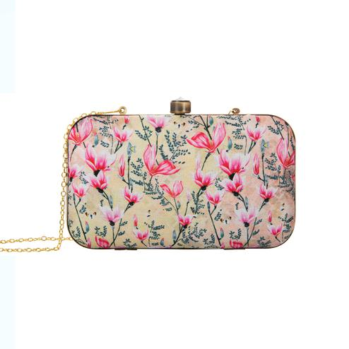 Jazzy Beige-Pink Colored Floral Printed Fancy Clutch