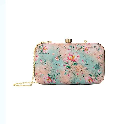 Engrossing Peach-Blue Colored Floral Printed Fancy Clutch