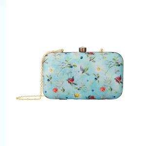 Captivating Blue Colored Floral Printed Fancy Clutch