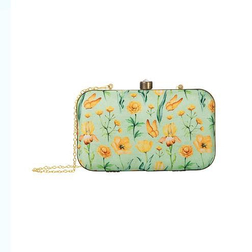 Innovative Pastel Green Colored Floral Printed Fancy Clutch