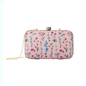 Eye-catching Pink Colored Floral Printed Fancy Clutch