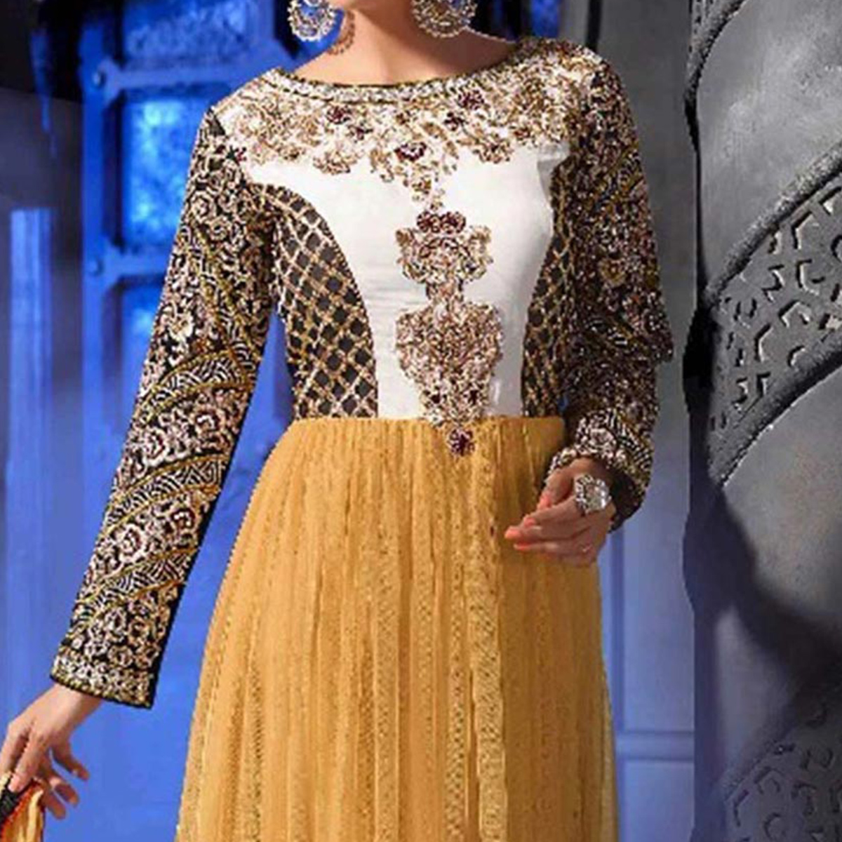 Mustard Thread & Embroidered Work Anarkali