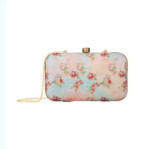 Ideal Blue-Peach Colored Floral Printed Fancy Clutch