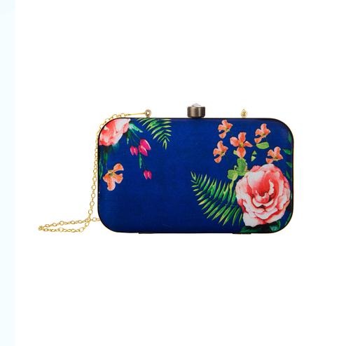 Mesmerising Blue Colored Floral Printed Fancy Clutch