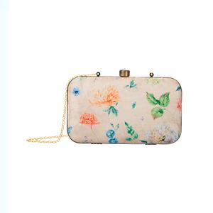 Pleasance Beige Colored Floral Printed Fancy Clutch