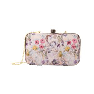 Ethnic Beige Colored Floral Printed Fancy Clutch