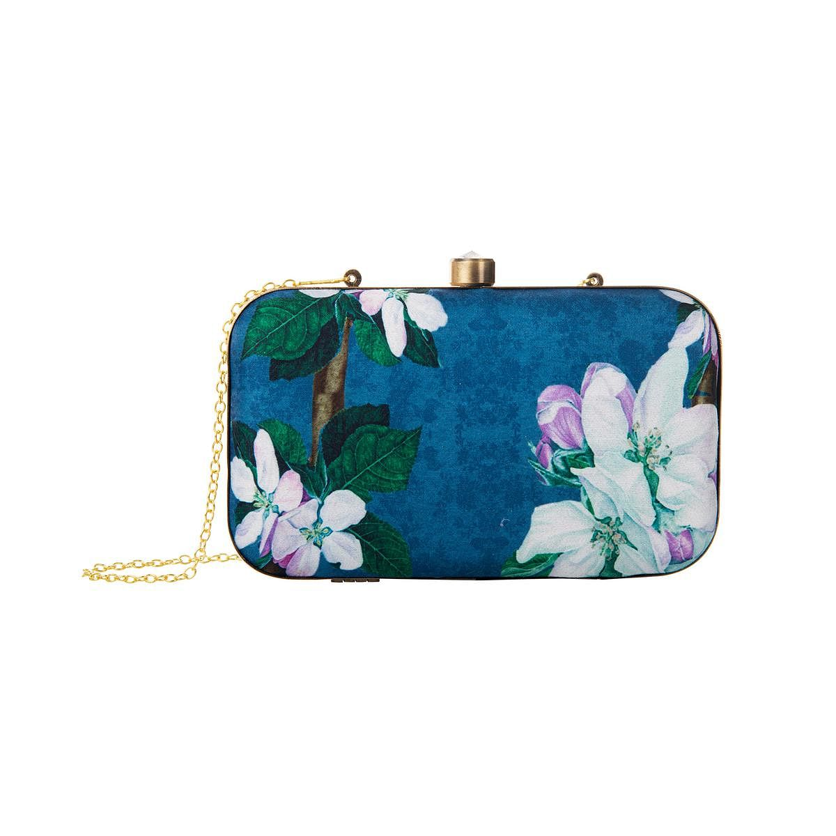 Ravishing Blue Colored Floral Printed Fancy Clutch