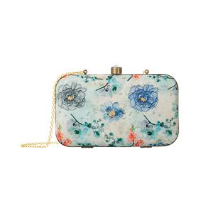 Staring Beige-Multi Colored Floral Printed Fancy Clutch