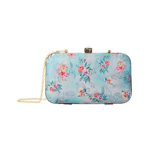 Dazzling Aqua Blue-Gray Colored Floral Printed Fancy Clutch