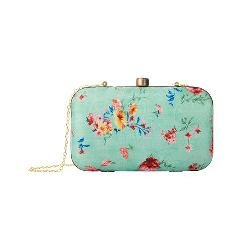 Surpassing Sea Green Colored Floral Printed Fancy Clutch