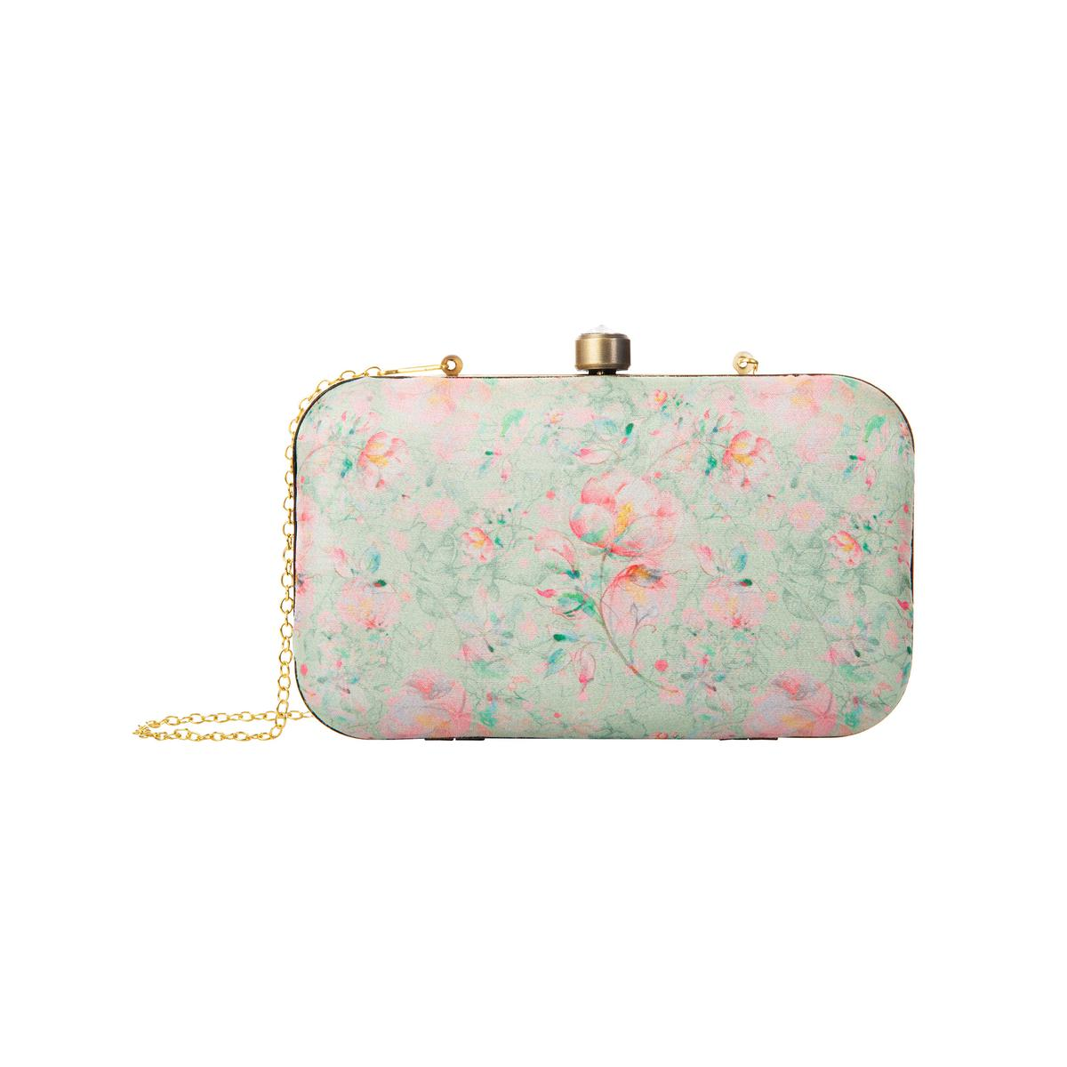 Arresting Pastel Green Colored Floral Printed Fancy Clutch