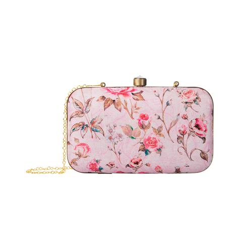 Exotic Pink Colored Floral Printed Fancy Clutch