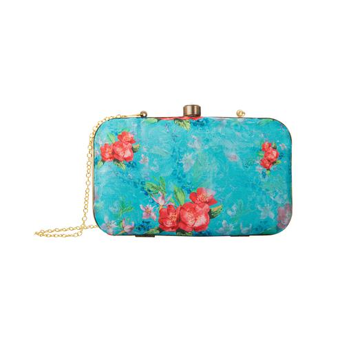 Trendy Sky Blue Colored Floral Printed Fancy Clutch