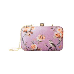 Pleasant Pastel Purple Colored Floral Printed Fancy Clutch