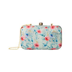 Energetic Blue-Gray Colored Floral Printed Fancy Clutch