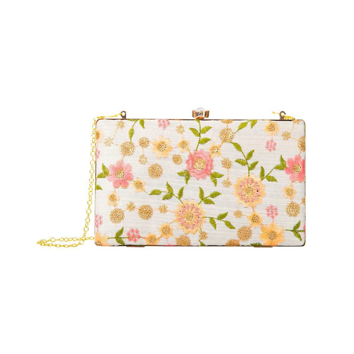 Glowing White Colored Floral Embroidered Fancy Clutch