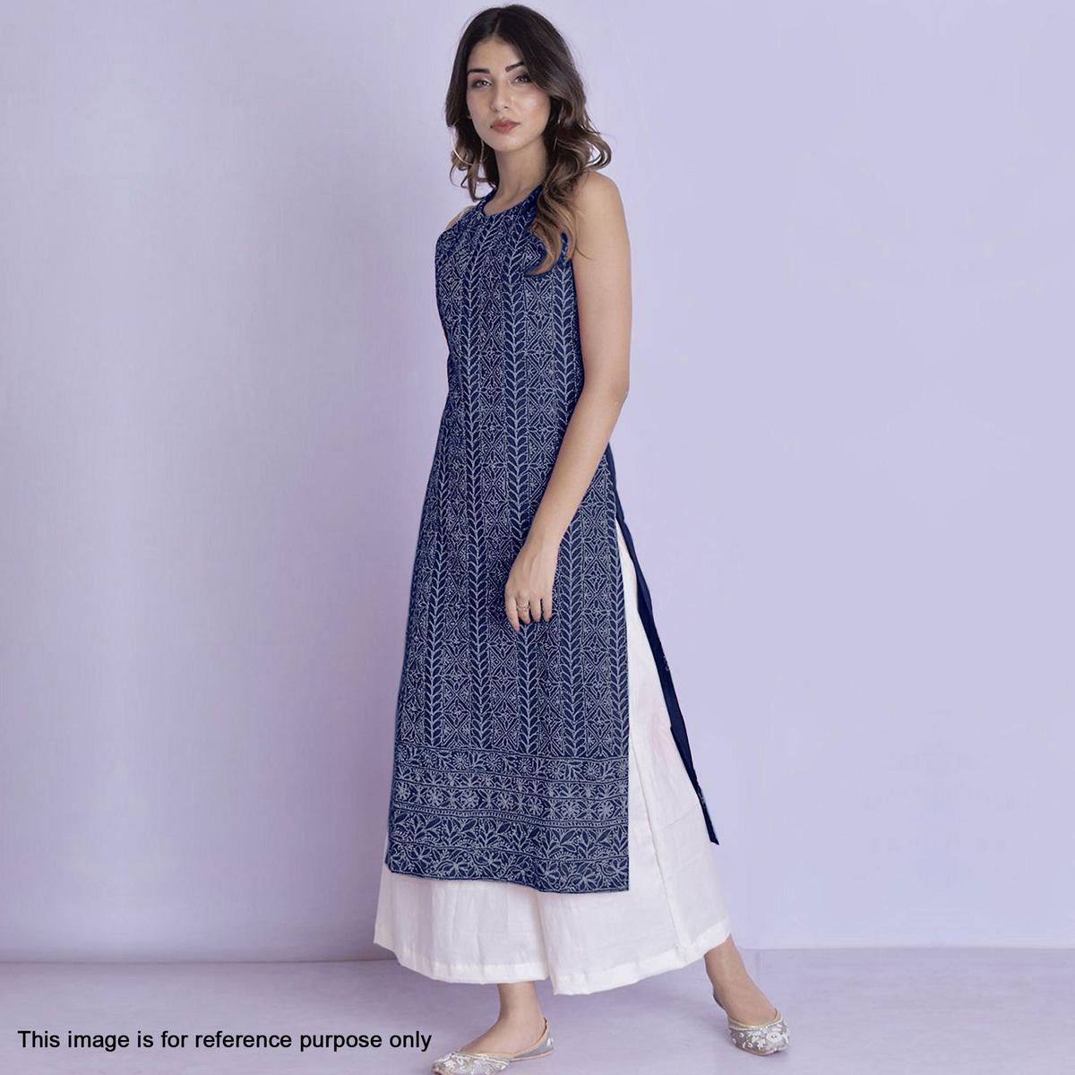 Demanding Navy Blue Colored Partywear Embroidered Cotton Palazzo Suit