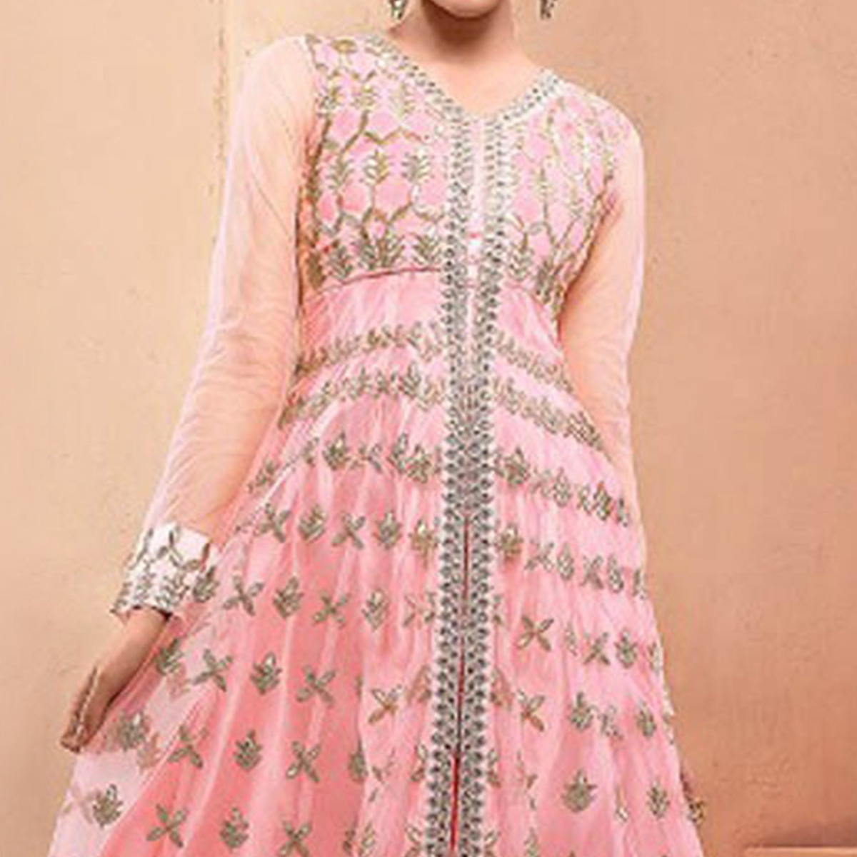 Baby Pink Party Wear Net Fabric Suit