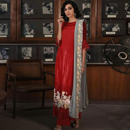 Marvellous Red Colored Partywear Embroidered Georgette Pant Style Kashmiri Suit