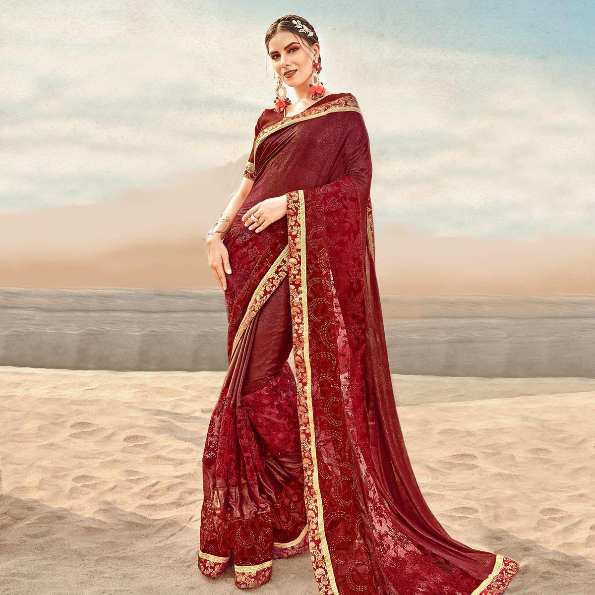 Adorable Maroon Colored Partywear Embroidered Fancy Art Silk Saree