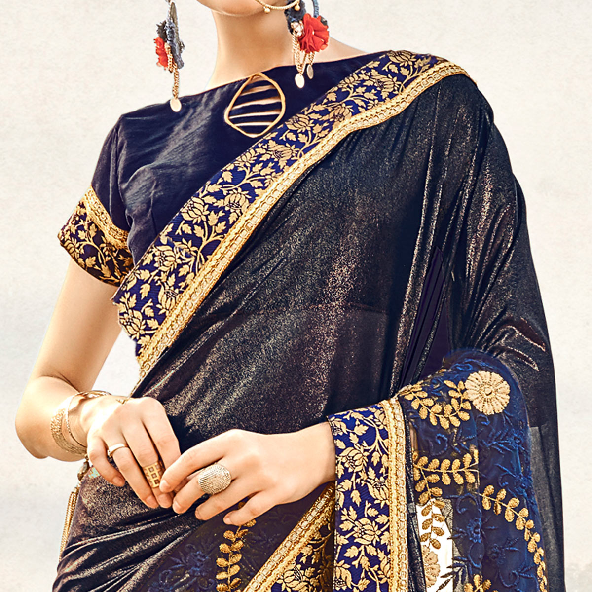 Glorious Navy Blue Colored Partywear Embroidered Fancy Art Silk Saree