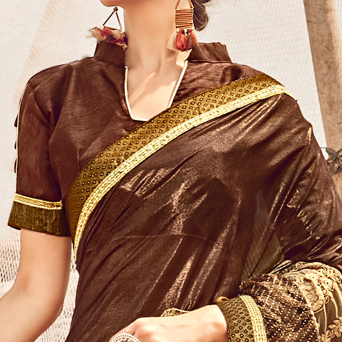 Attractive Brown Colored Partywear Embroidered Fancy Art Silk Saree