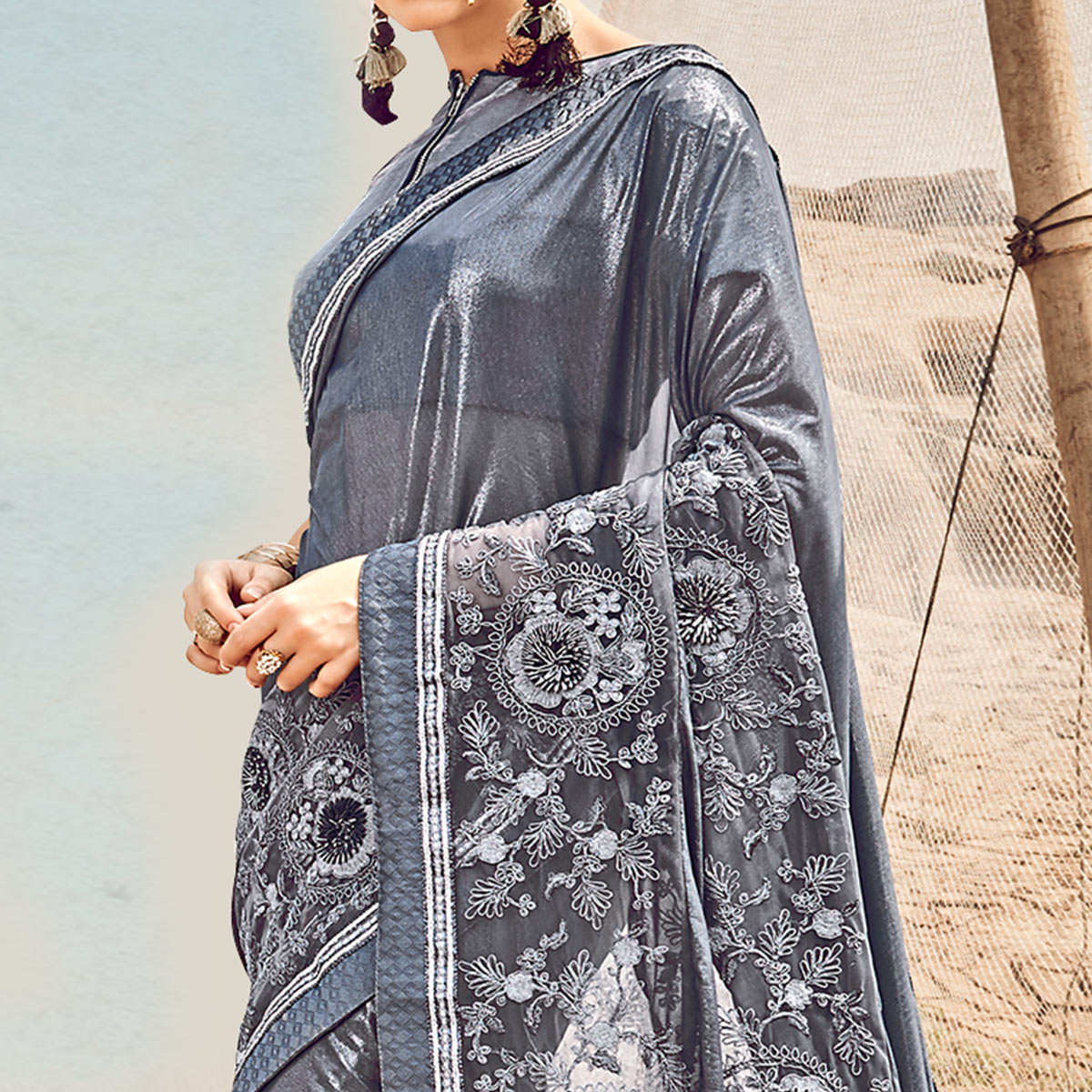 Beautiful Gray Colored Partywear Embroidered Fancy Art Silk Saree