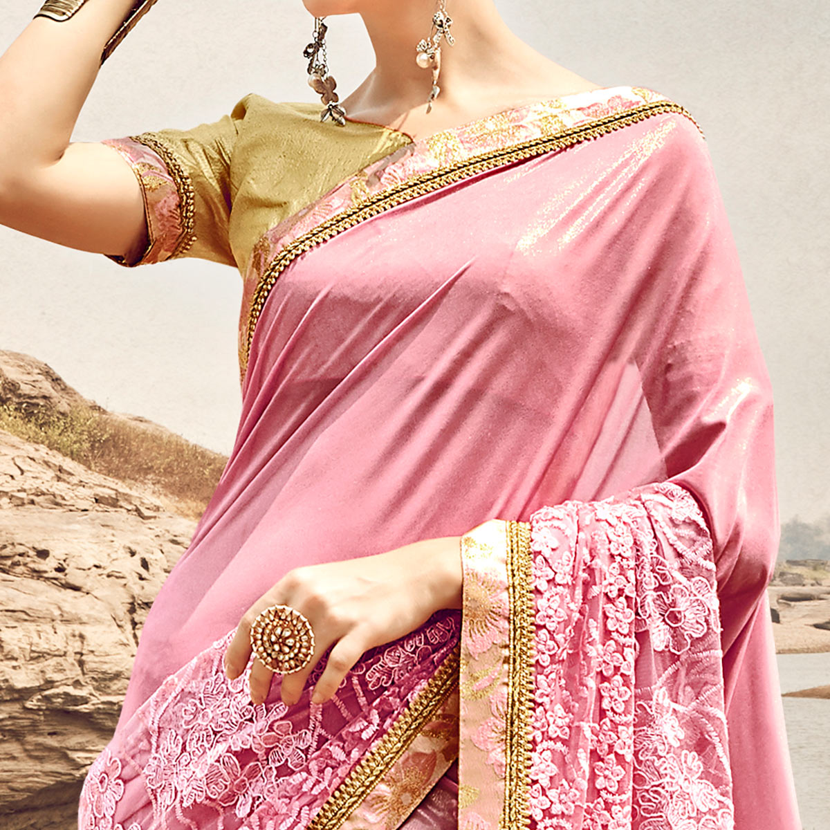 Graceful Pink Colored Partywear Embroidered Fancy Art Silk Saree