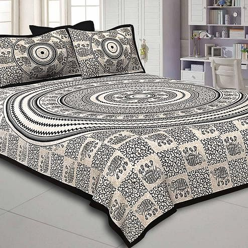 Classy Black-Cream Colored Elephant Printed Pure Cotton Double Bedsheet With Pillow Cover Set