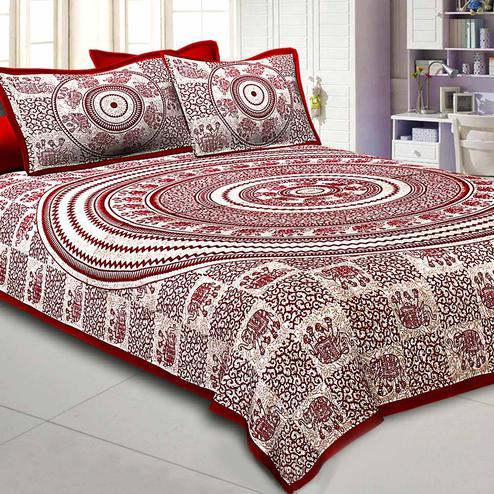 Groovy Maroon-Cream Colored Elephant Printed Pure Cotton Double Bedsheet With Pillow Cover Set
