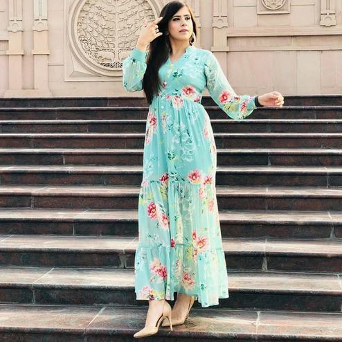 Energetic Aqua Blue Colored Partywear Digital Printed Georgette Long Kurti