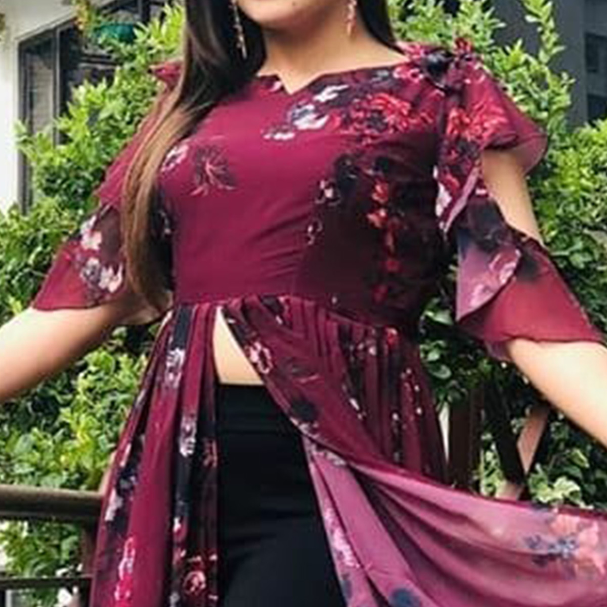 Gleaming Wine Colored Partywear Digital Printed Georgette Long Kurti