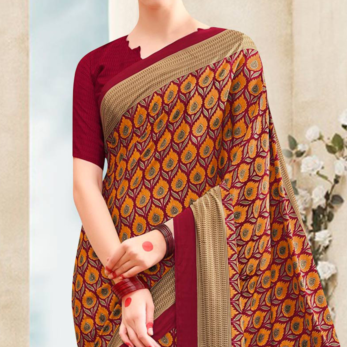 Maroon - Orange Printed Saree