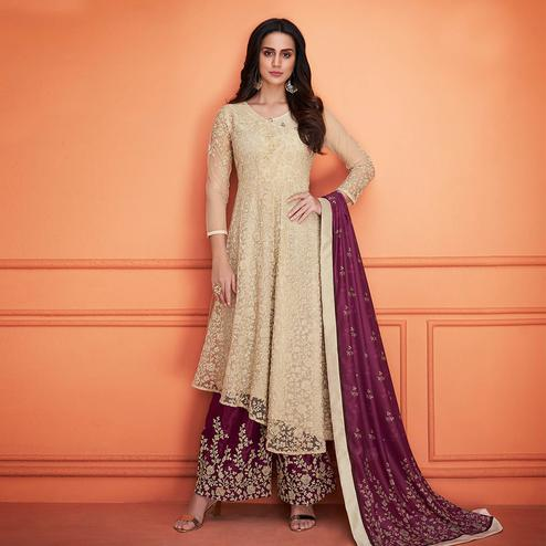 Innovative Beige Colored Partywear Embroidered Cotton Palazzo Suit