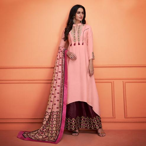 Fantastic Light Pink Colored Partywear Embroidered Cotton Palazzo Suit