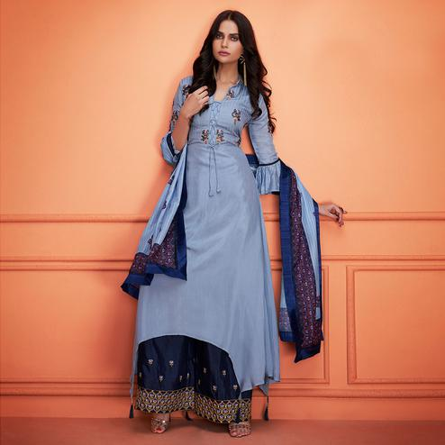 Amazing Blue Colored Partywear Embroidered Cotton Palazzo Suit