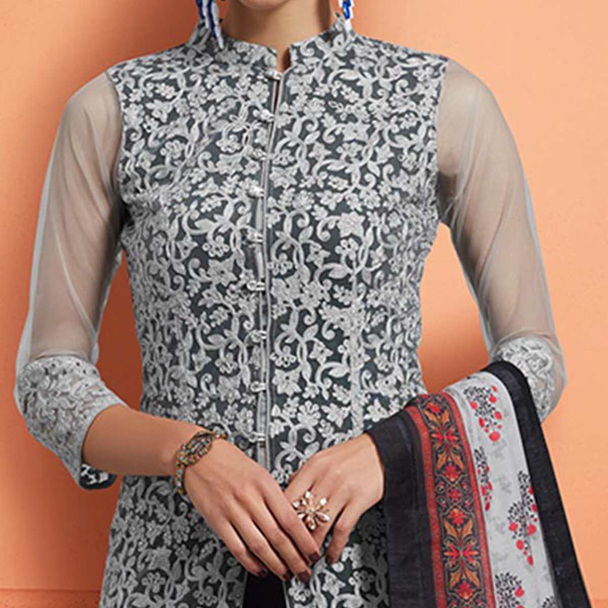 Blissful Gray-Black Colored Partywear Embroidered Cotton Palazzo Suit