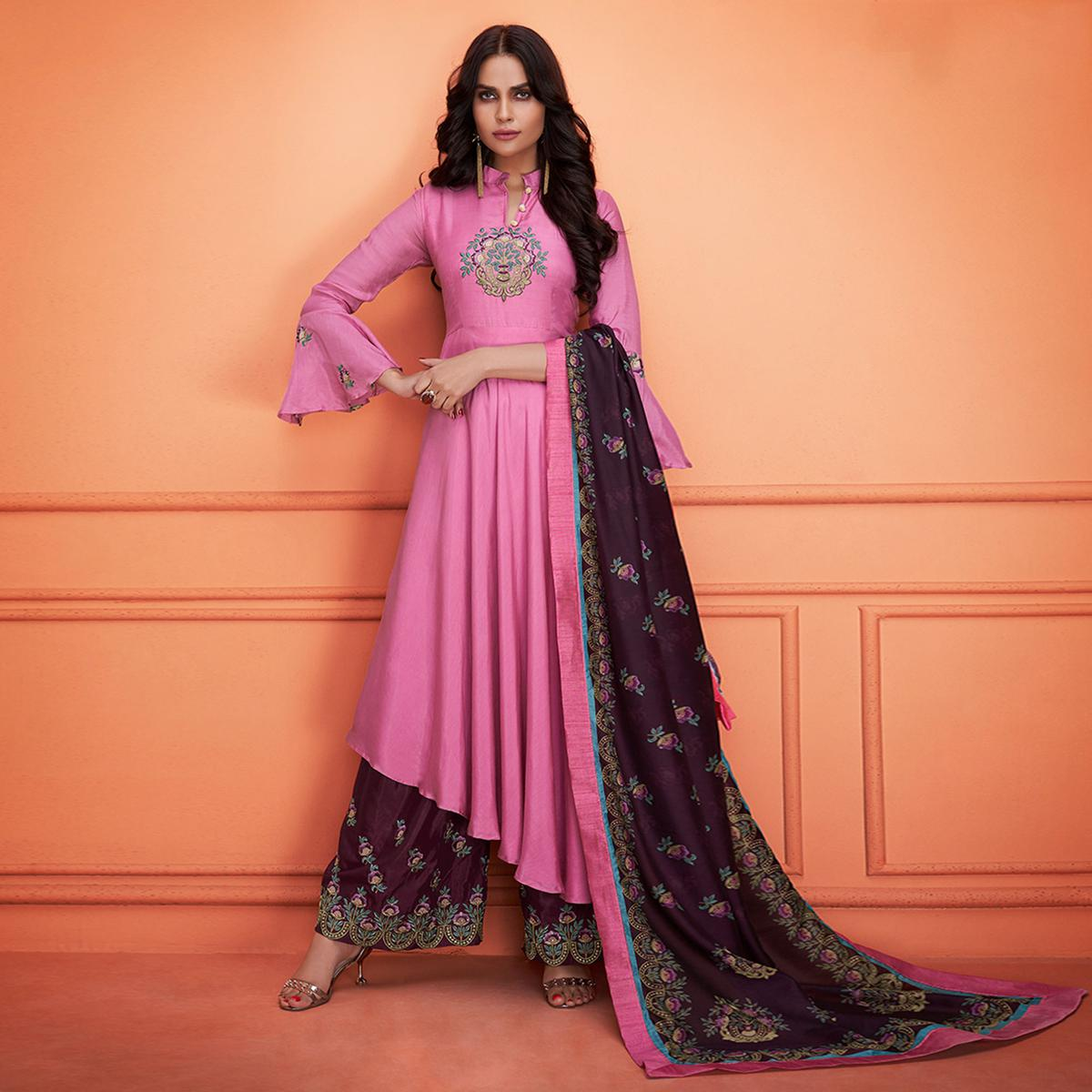 Impressive Pink Colored Partywear Embroidered Cotton Palazzo Suit