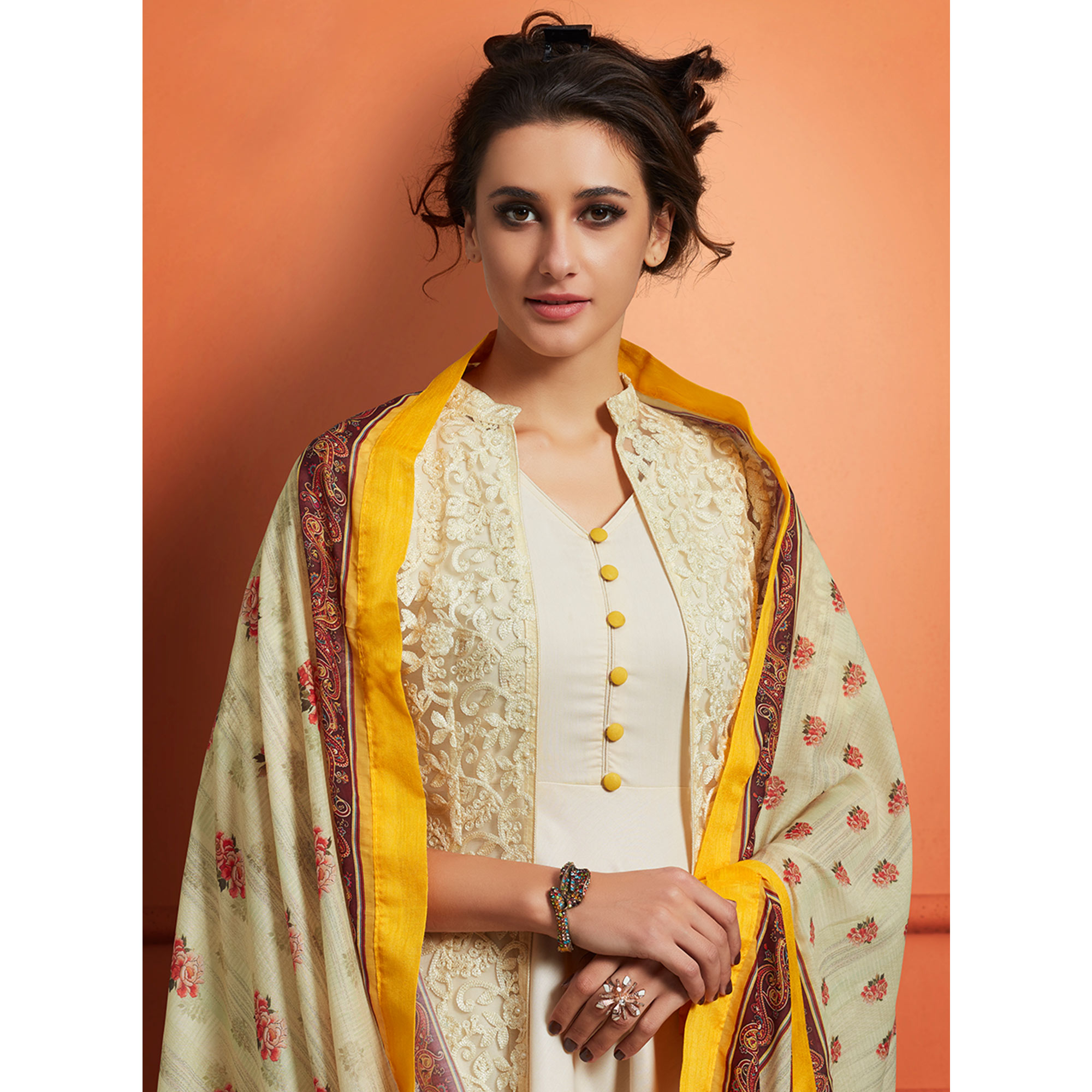 Imposing Cream Colored Partywear Embroidered Cotton Jacket Style Palazzo Suit