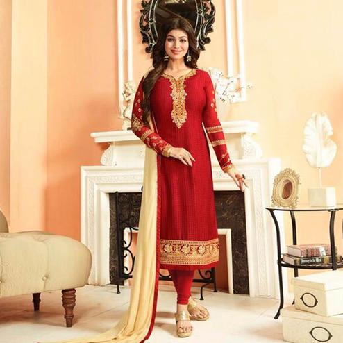 Intricate Red Colored Parytwear Embroidered Brasso Suit