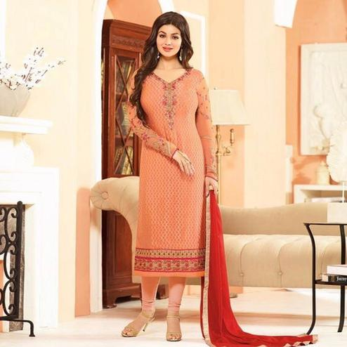 Arresting Peach Colored Parytwear Embroidered Brasso Suit