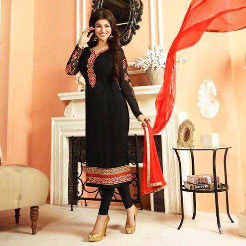 Desirable Black Colored Parytwear Embroidered Brasso Suit