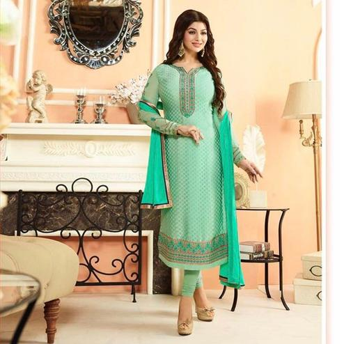 Exotic Aqua Green Colored Parytwear Embroidered Brasso Suit