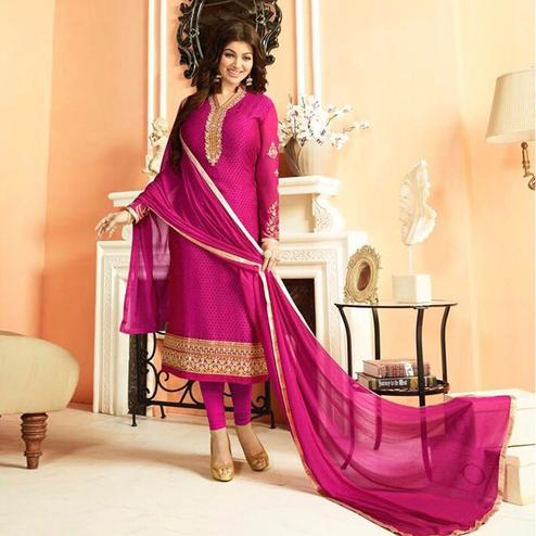 Prominent Pink Colored Parytwear Embroidered Brasso Suit