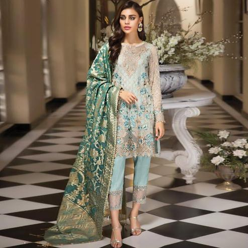 Magnetic Aqua Blue Colored Partywear Embroidered Net Pant Style Kashmiri Suit